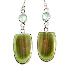 18.39cts natural green imperial jasper amethyst 925 silver earrings r75778