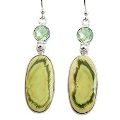 17.17cts natural green imperial jasper amethyst 925 silver earrings r75786