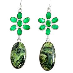Clearance Sale- 22.09cts natural green kambaba jasper (stromatolites) 925 silver earrings d40361