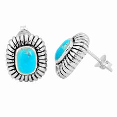 3.28cts natural green kingman turquoise 925 sterling silver stud earrings c10588
