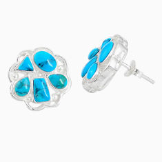 4.12cts natural green kingman turquoise 925 sterling silver stud earrings c10594