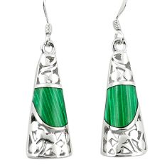 Natural green malachite (pilots stone) 925 silver dangle earrings c11729