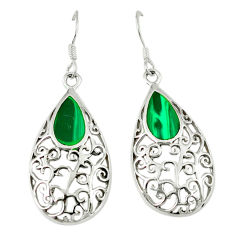 Natural green malachite (pilots stone) 925 silver dangle earrings c11797