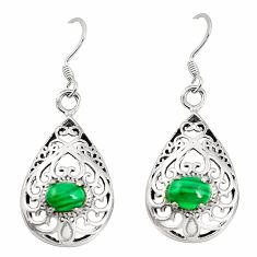 Natural green malachite (pilot's stone) 925 silver dangle earrings c11814