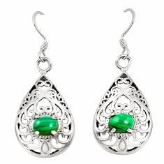 Natural green malachite (pilot's stone) 925 silver dangle earrings c11819