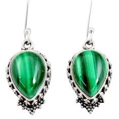 13.36cts natural green malachite (pilot's stone) 925 silver earrings d40406