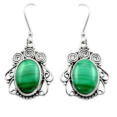12.31cts natural green malachite (pilot's stone) 925 silver earrings d40997
