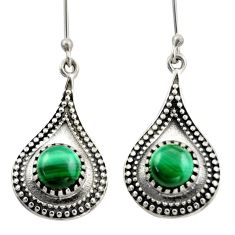 5.75cts natural green malachite (pilot's stone) 925 silver earrings d46969