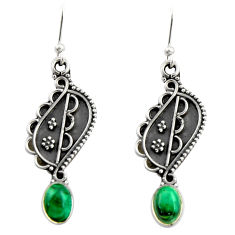 3.63cts natural green malachite (pilot's stone) 925 silver earrings r19871