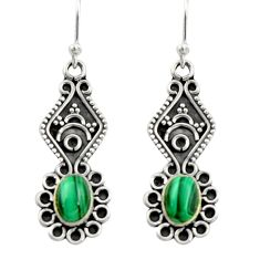3.83cts natural green malachite (pilot's stone) 925 silver earrings r19872