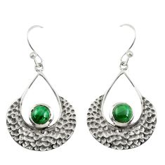 1.93cts natural green malachite (pilot's stone) 925 silver earrings r39095