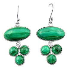 20.95cts natural green malachite (pilot's stone) 925 silver earrings r40407