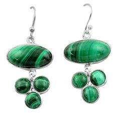 21.01cts natural green malachite (pilot's stone) 925 silver earrings r40408
