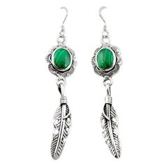 Natural green malachite (pilots stone) 925 silver dangle earrings c11789