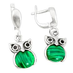 Natural green malachite (pilots stone) 925 silver owl earrings c11776