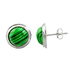8.22cts natural green malachite (pilot's stone) 925 silver stud earrings c9968