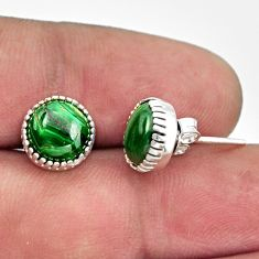 5.49cts natural green malachite (pilot's stone) 925 silver stud earrings r38562