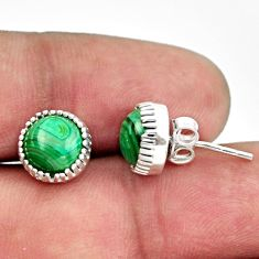 5.81cts natural green malachite (pilot's stone) 925 silver stud earrings r38563