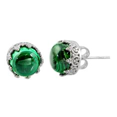 6.26cts natural green malachite (pilot's stone) 925 silver stud earrings r38582