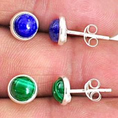 4.97cts natural green malachite (pilot's stone) 925 silver stud earrings r65501