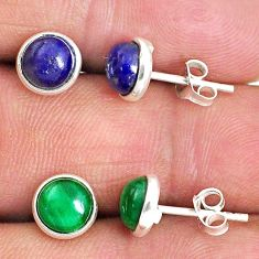 5.04cts natural green malachite (pilot's stone) 925 silver stud earrings r65502