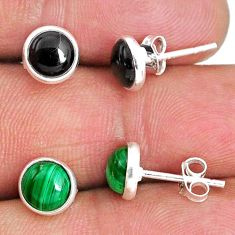 4.92cts natural green malachite (pilot's stone) 925 silver stud earrings r65533