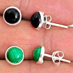 5.06cts natural green malachite (pilot's stone) 925 silver stud earrings r65535