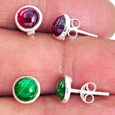 4.81cts natural green malachite (pilot's stone) 925 silver stud earrings r65539