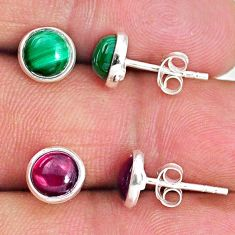 5.15cts natural green malachite (pilot's stone) 925 silver stud earrings r65540