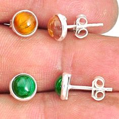 5.70cts natural green malachite (pilot's stone) 925 silver stud earrings r81565