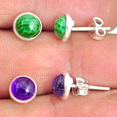5.70cts natural green malachite (pilot's stone) 925 silver stud earrings r81566