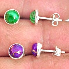 5.73cts natural green malachite (pilot's stone) 925 silver stud earrings r81567