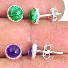 6.19cts natural green malachite (pilot's stone) 925 silver stud earrings r81569