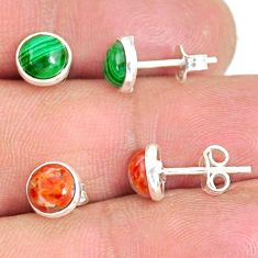 5.24cts natural green malachite (pilot's stone) 925 silver stud earrings r81634