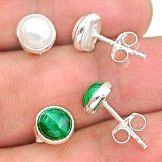 4.07cts natural green malachite (pilot's stone) 925 silver stud earrings t23942