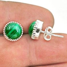 7.13cts natural green malachite (pilot's stone) 925 silver stud earrings t43728