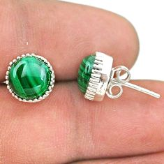 6.68cts natural green malachite (pilot's stone) 925 silver stud earrings t43729