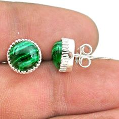 6.70cts natural green malachite (pilot's stone) 925 silver stud earrings t43731