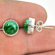 6.70cts natural green malachite (pilot's stone) 925 silver stud earrings t43746