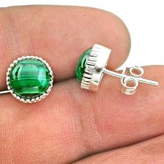 6.74cts natural green malachite (pilot's stone) 925 silver stud earrings t43747