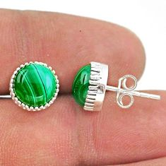 6.70cts natural green malachite (pilot's stone) 925 silver stud earrings t43763