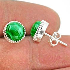 6.21cts natural green malachite (pilot's stone) 925 silver stud earrings t43770