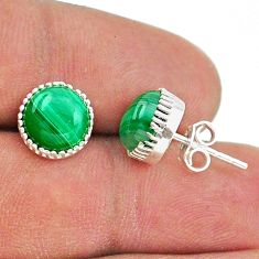 5.76cts natural green malachite (pilot's stone) 925 silver stud earrings t43771