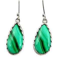 18.12cts natural green malachite (pilot's stone) silver dangle earrings d39523