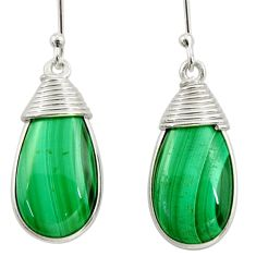 19.29cts natural green malachite (pilot's stone) silver dangle earrings d39948