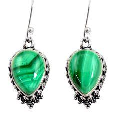 12.62cts natural green malachite (pilot's stone) silver dangle earrings d40405