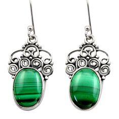 11.89cts natural green malachite (pilot's stone) silver dangle earrings d40999