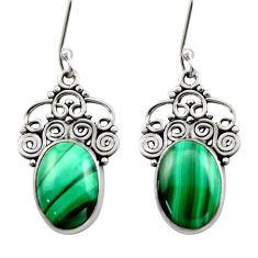11.46cts natural green malachite (pilot's stone) silver dangle earrings d41000