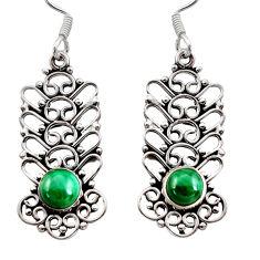 green malachite (pilot's stone) silver dangle earrings d41169