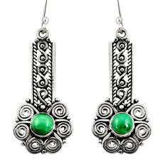 2.50cts natural green malachite (pilot's stone) silver dangle earrings d41170